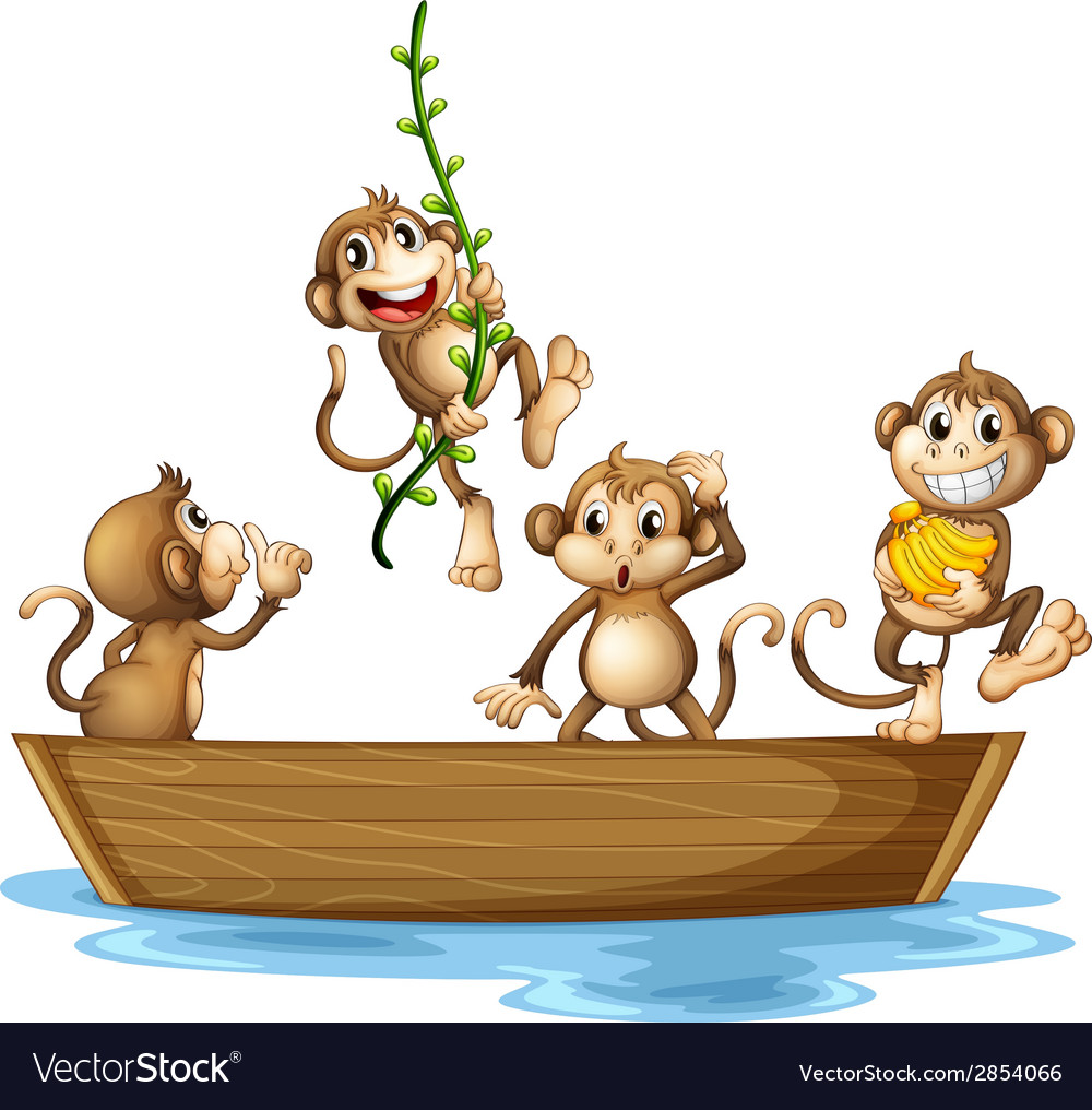 Monkeys on boat vector | Price: 3 Credit (USD $3)