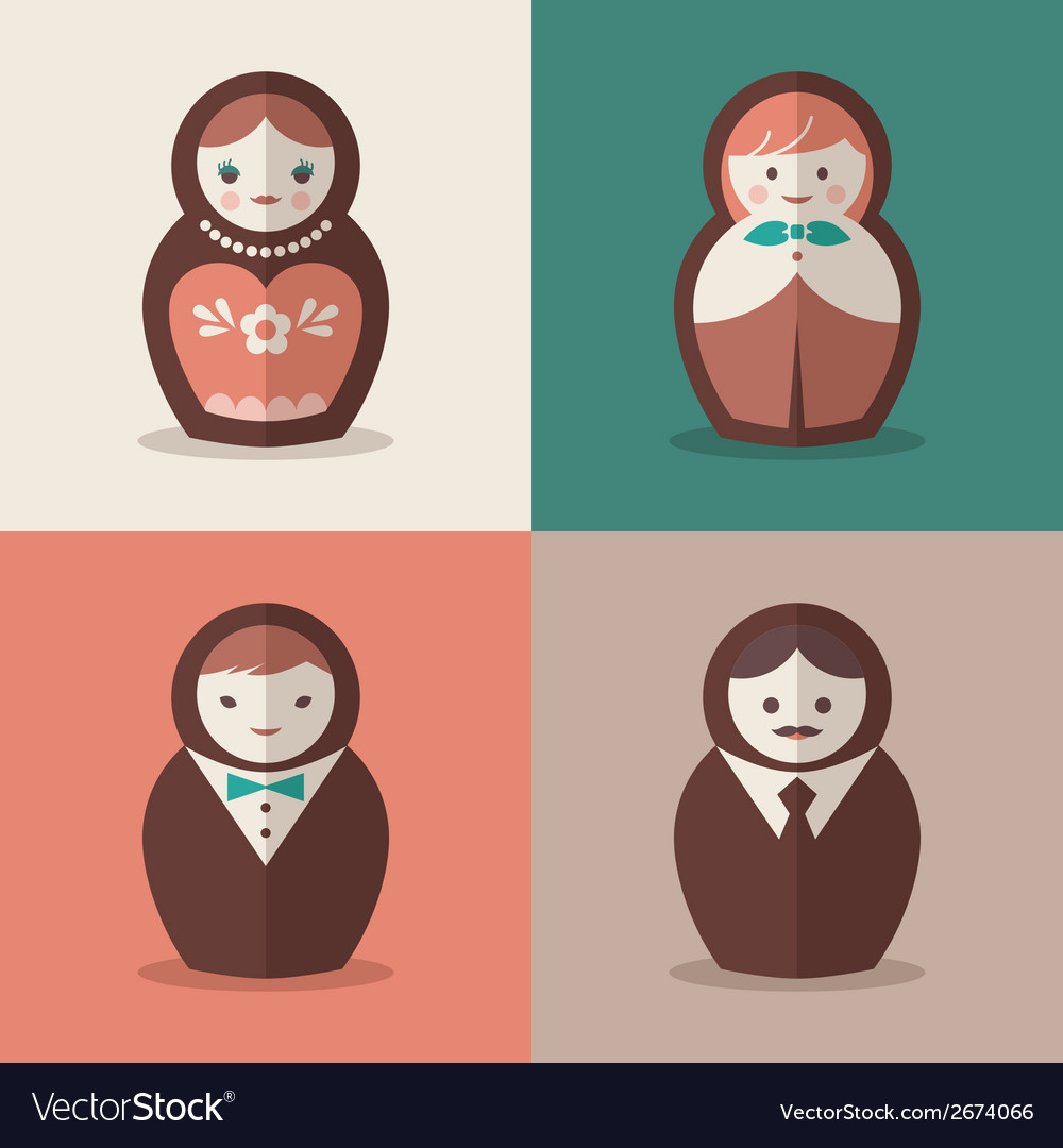 Russian doll groom and bride wedding icons vector | Price: 1 Credit (USD $1)