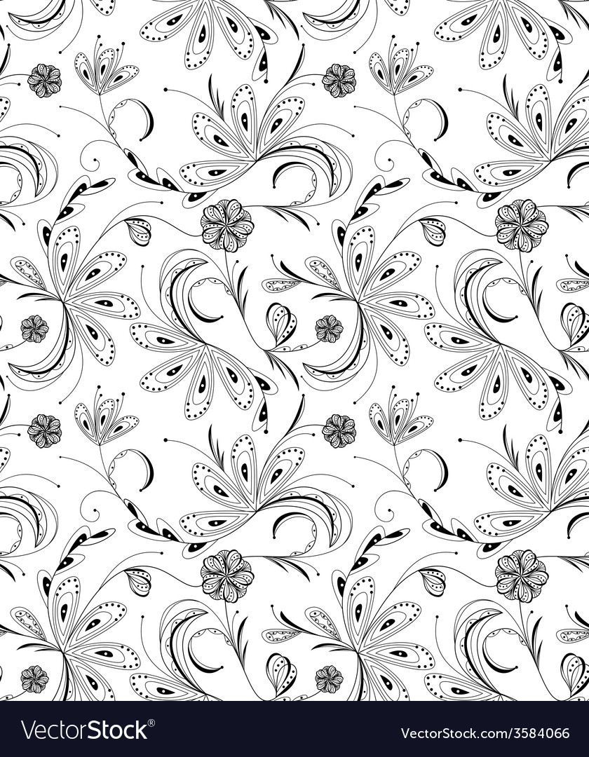 Seamless floral pattern balck and white vector | Price: 1 Credit (USD $1)