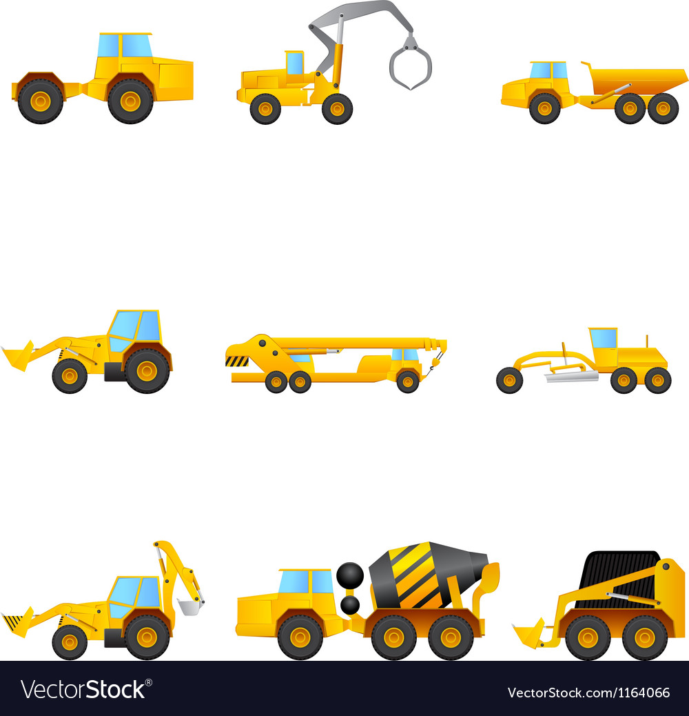 Set of building machines vector | Price: 1 Credit (USD $1)