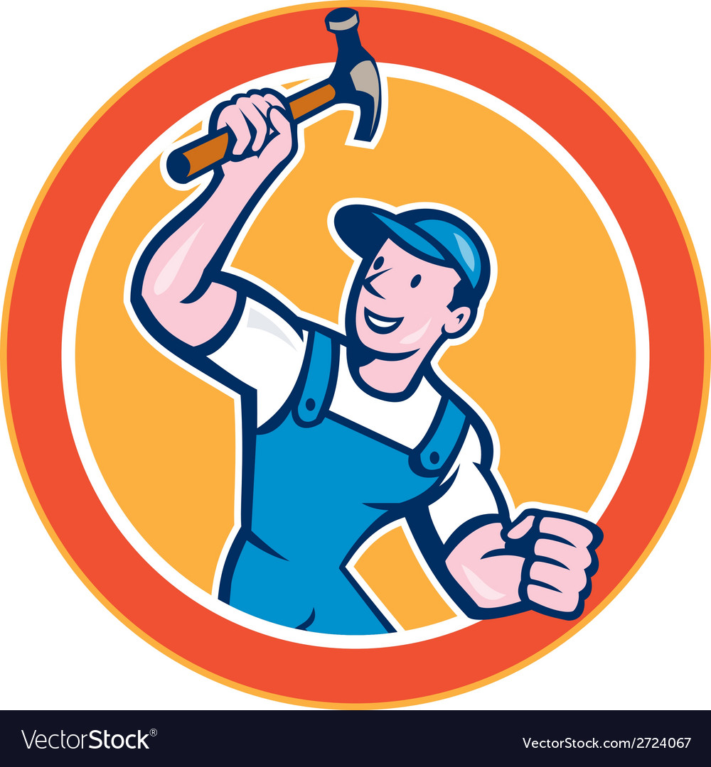 Builder carpenter holding hammer circle cartoon vector | Price: 1 Credit (USD $1)