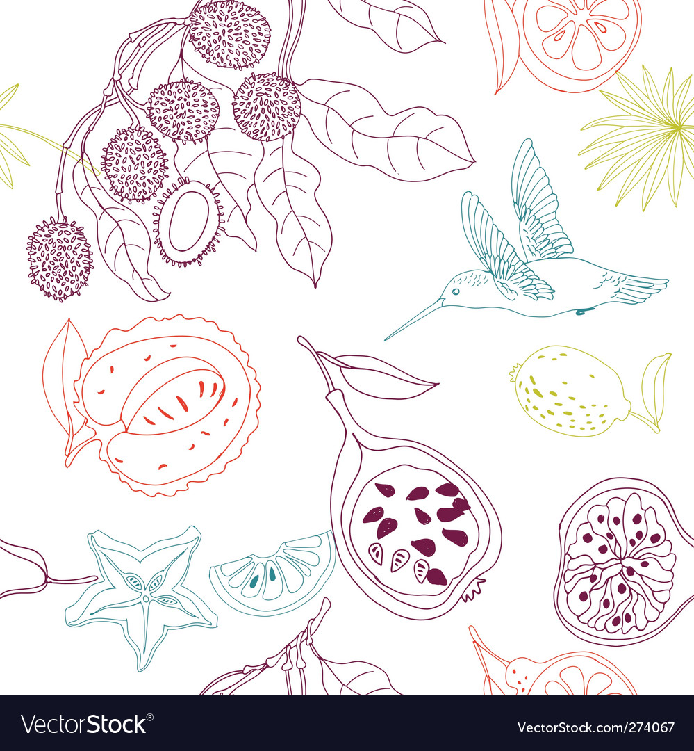 Exotic fruits background vector | Price: 3 Credit (USD $3)