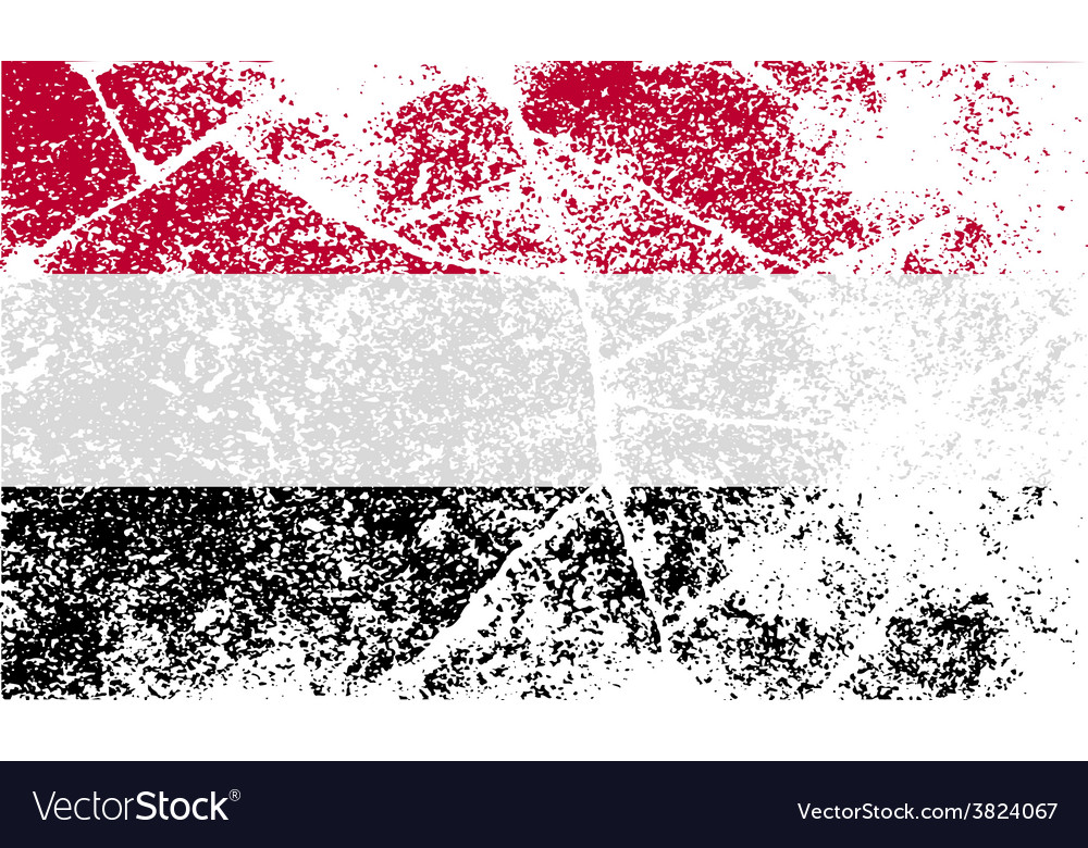 Flag of yemen with old texture vector | Price: 1 Credit (USD $1)