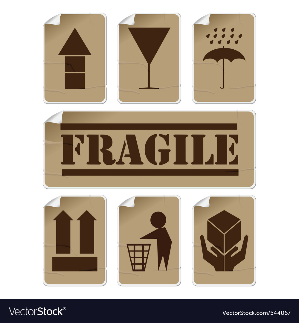 Fragile stickers vector | Price: 1 Credit (USD $1)