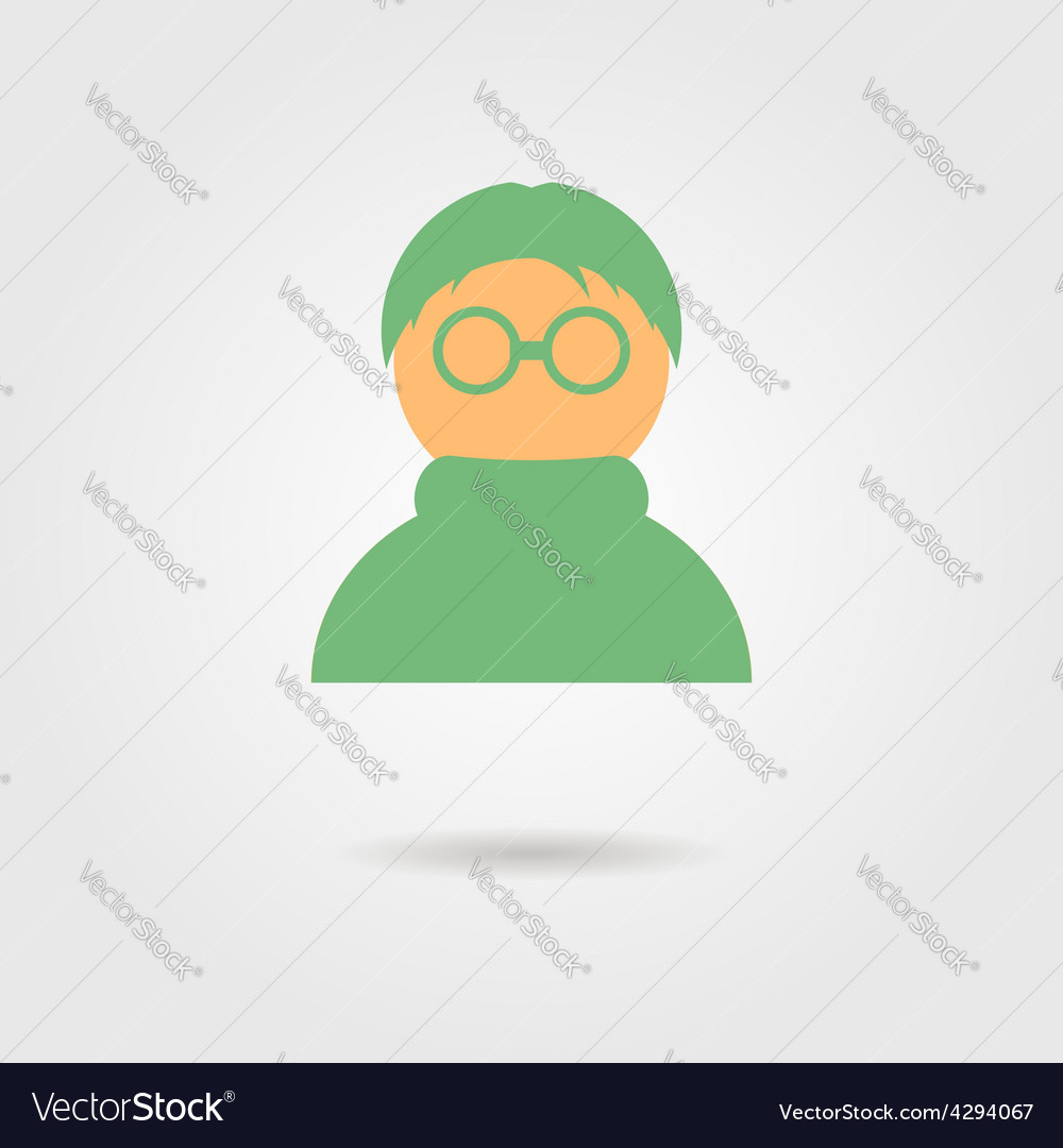 Green anonymous icon with shadow vector | Price: 1 Credit (USD $1)