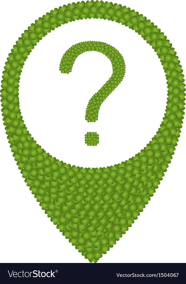 Green clover of question mark in navication icon vector | Price: 1 Credit (USD $1)