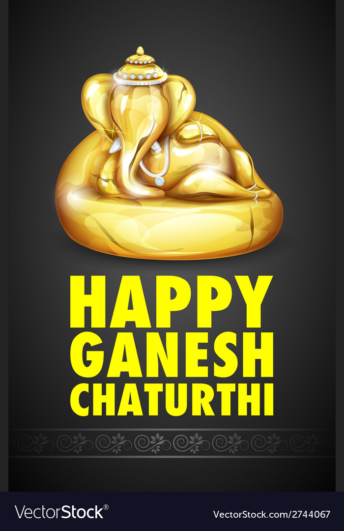 Lord ganesha made of gold for ganesh chaturthi vector | Price: 1 Credit (USD $1)