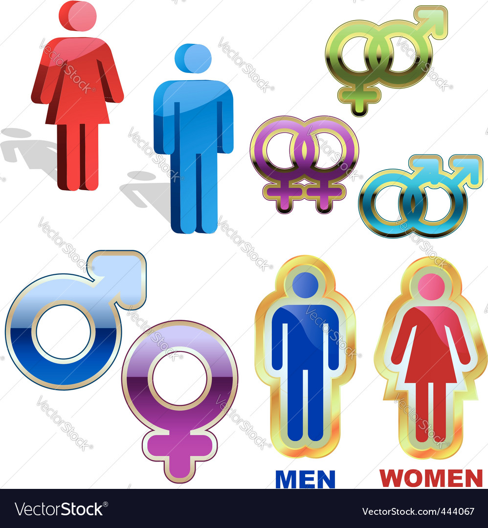 Men and women icons vector | Price: 1 Credit (USD $1)
