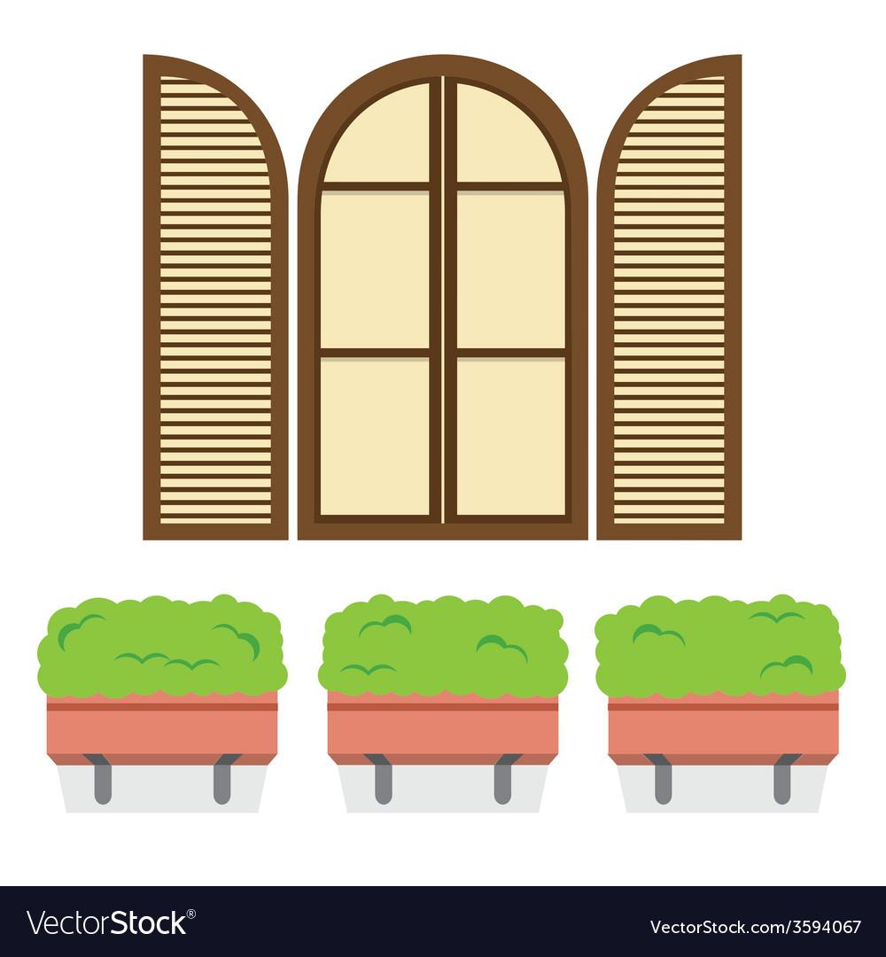 Open vintage arc window with pot plants below vector | Price: 1 Credit (USD $1)