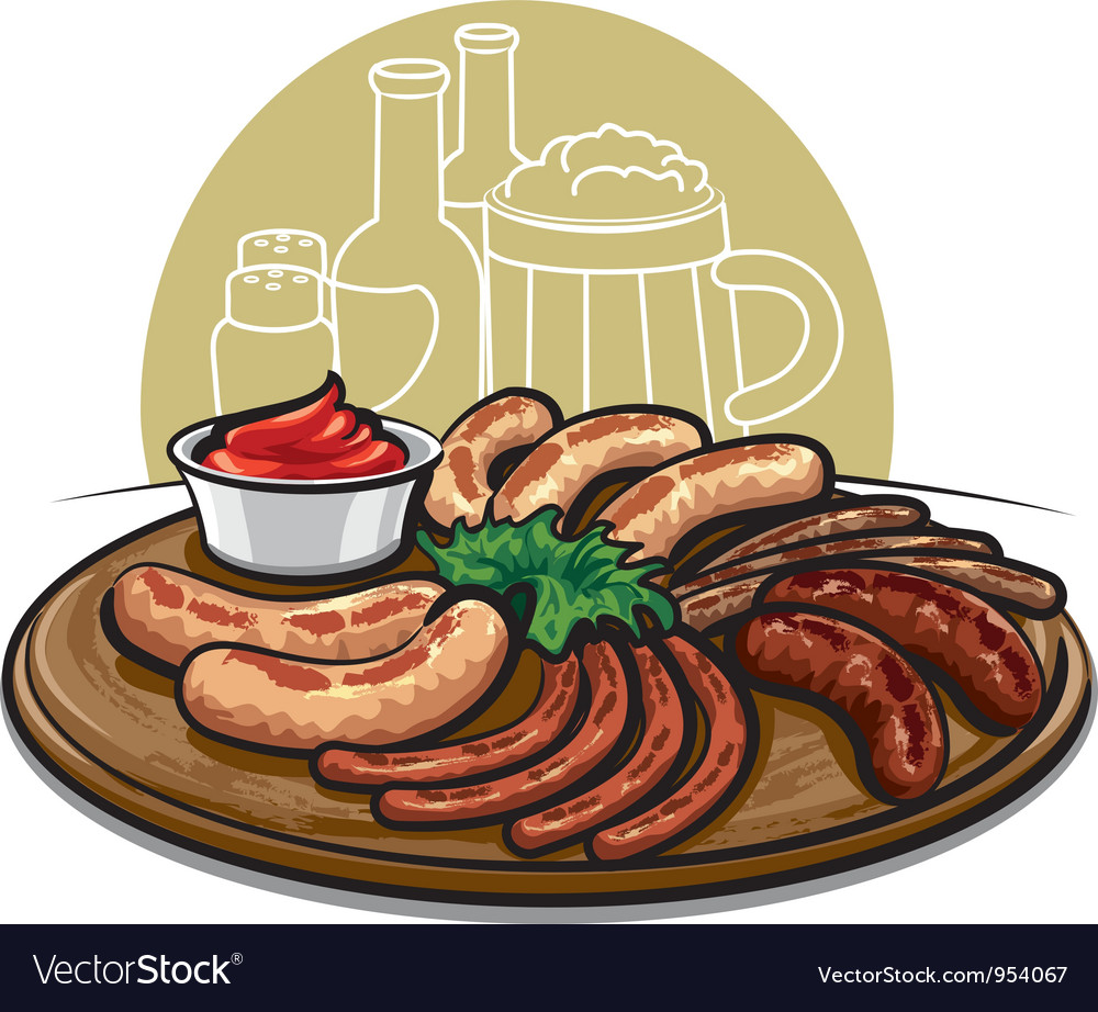 Sausages grilled vector | Price: 3 Credit (USD $3)