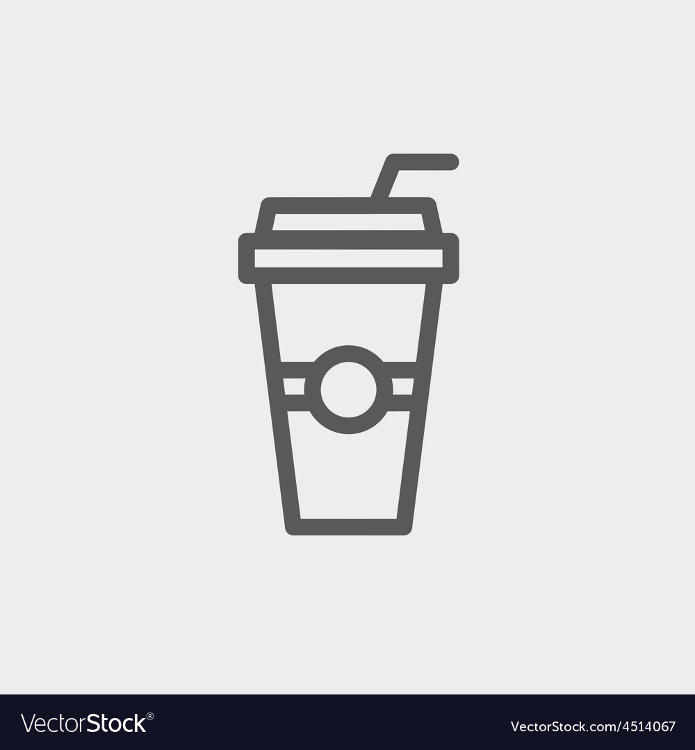 Soda in a plastic cup with straw thin line icon vector | Price: 1 Credit (USD $1)