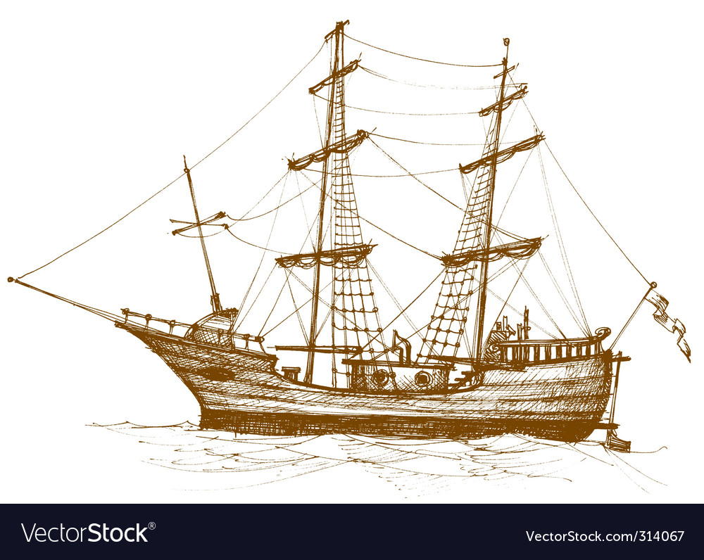 Vintage sailboat vector | Price: 3 Credit (USD $3)