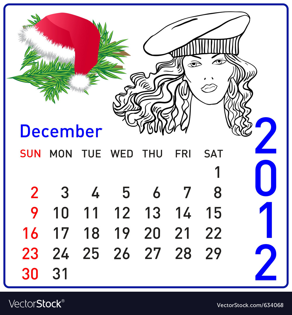 2012 year calendar in december vector | Price: 1 Credit (USD $1)