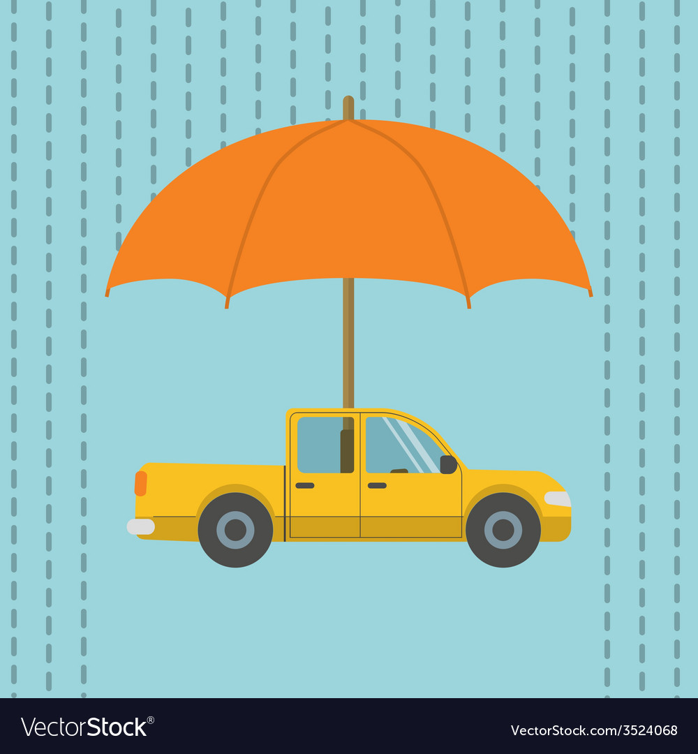 Car under umbrella vector | Price: 1 Credit (USD $1)