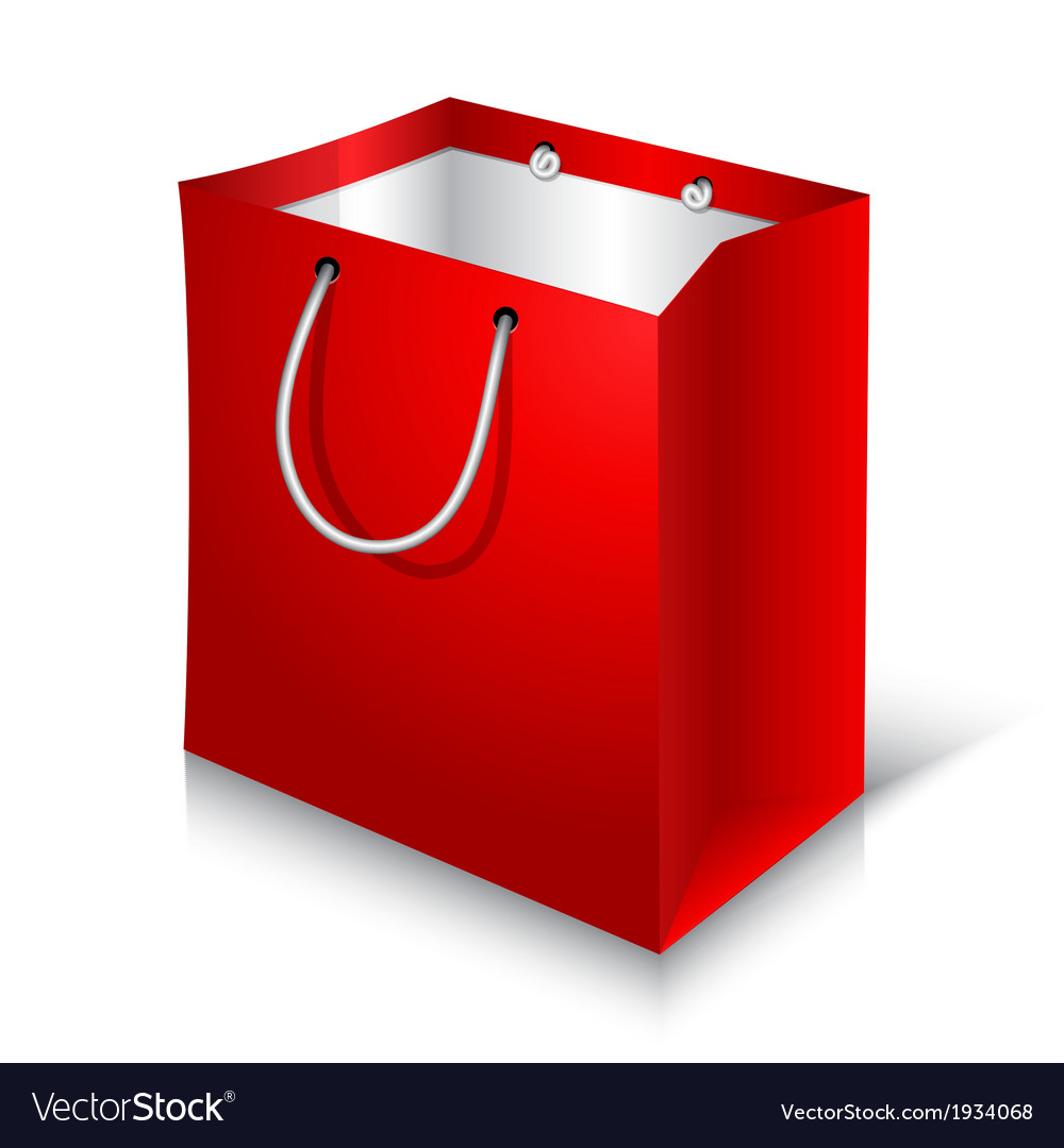 Empty red shopping bag on white background vector | Price: 1 Credit (USD $1)