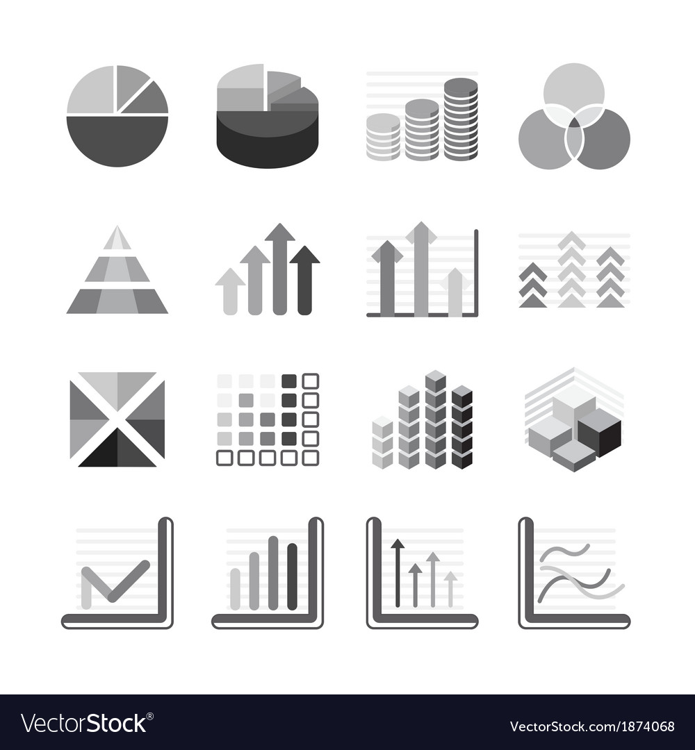 Graph chart business and financial icons set vector | Price: 1 Credit (USD $1)