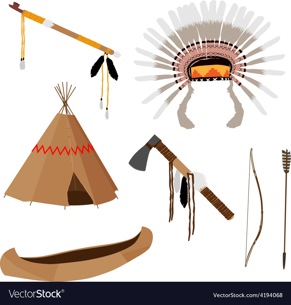 Native american set six icons vector | Price: 1 Credit (USD $1)