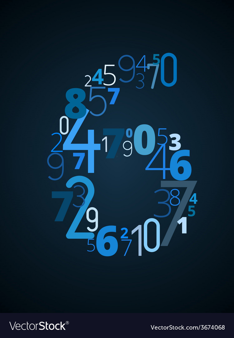 Number 6 font from numbers vector | Price: 1 Credit (USD $1)