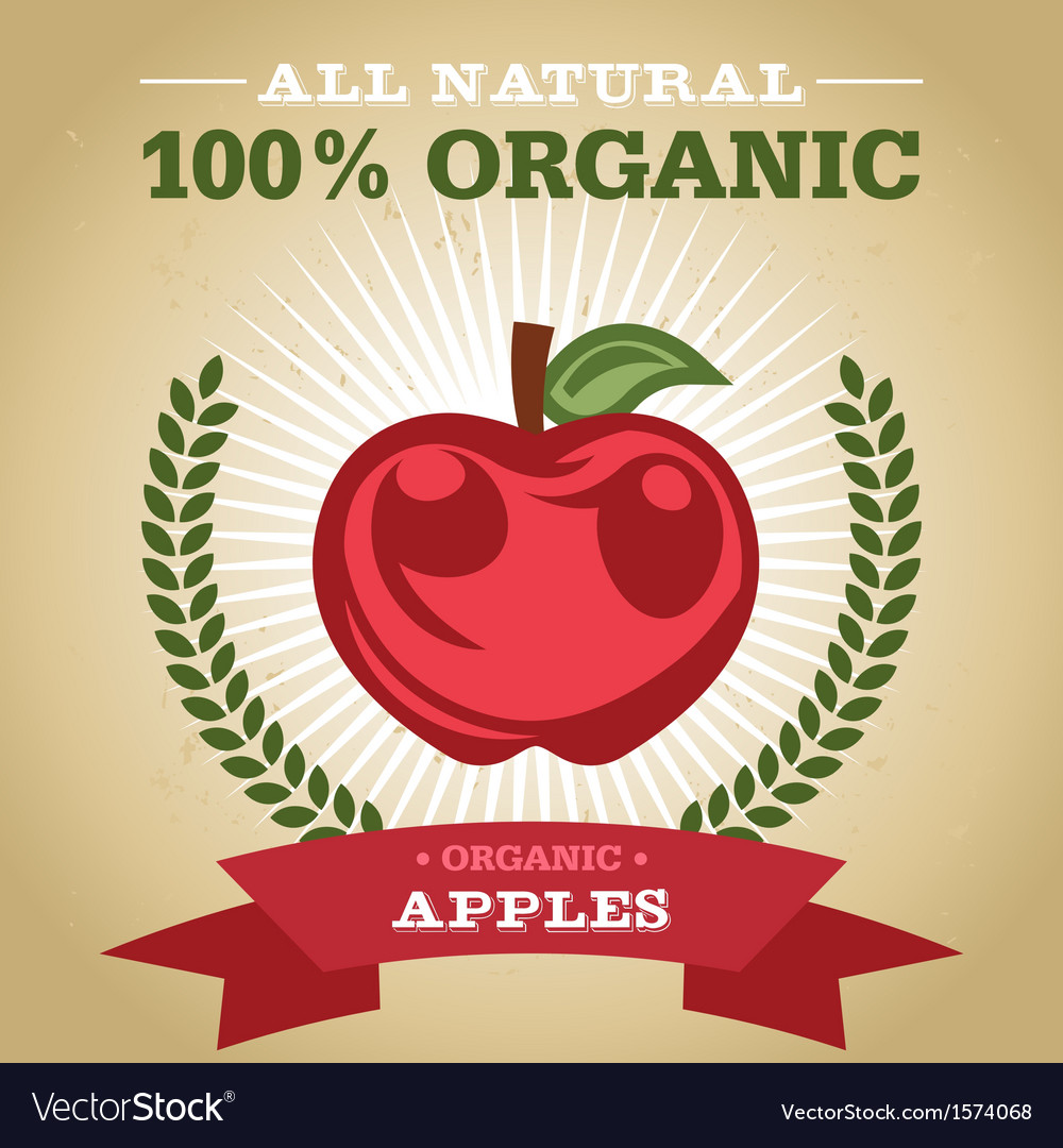 Organic apples vector | Price: 1 Credit (USD $1)