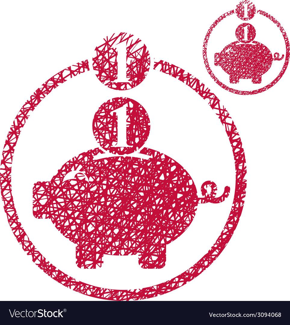 Piggy bank coins cash money savings theme simple vector | Price: 1 Credit (USD $1)