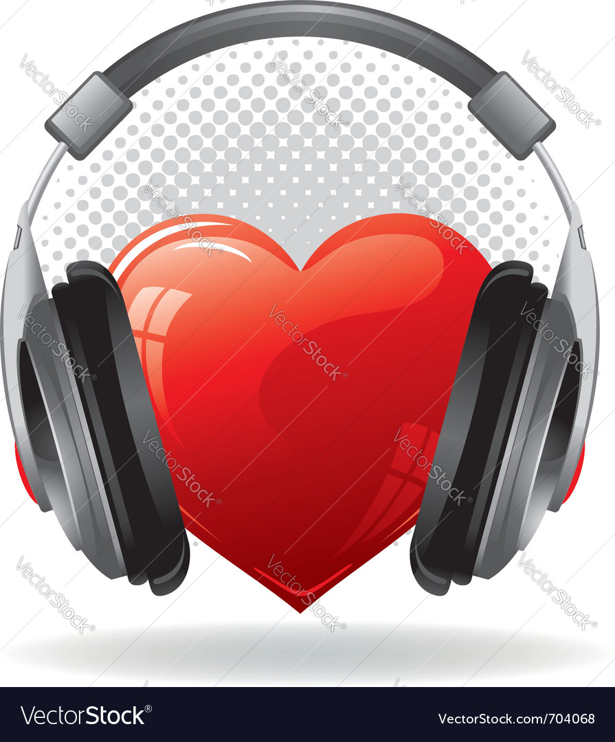 Red heart with headphones music concept vector | Price: 3 Credit (USD $3)