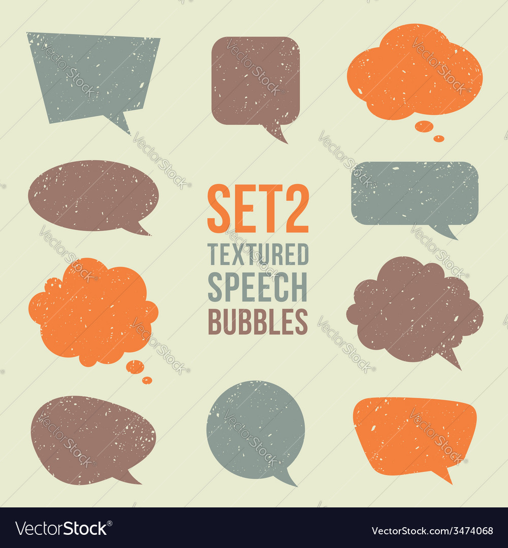Retro textured speech bubbles set vector