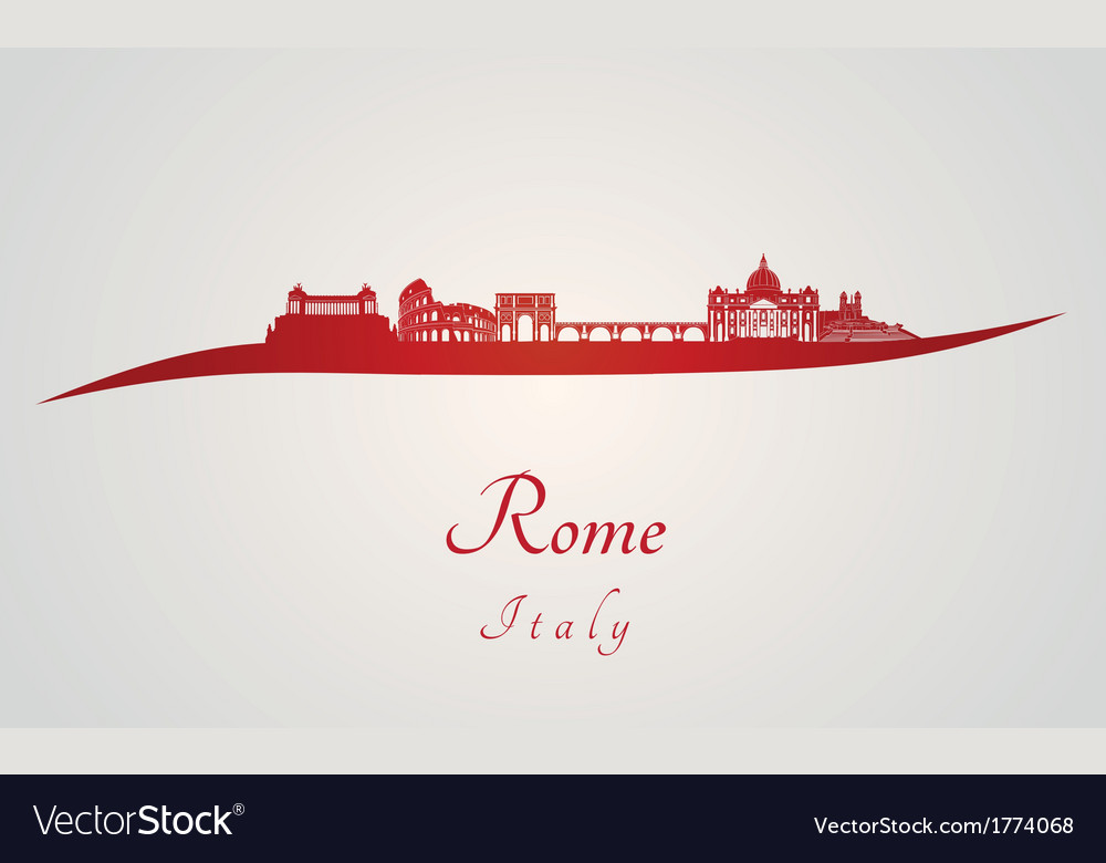 Rome skyline in red vector | Price: 1 Credit (USD $1)