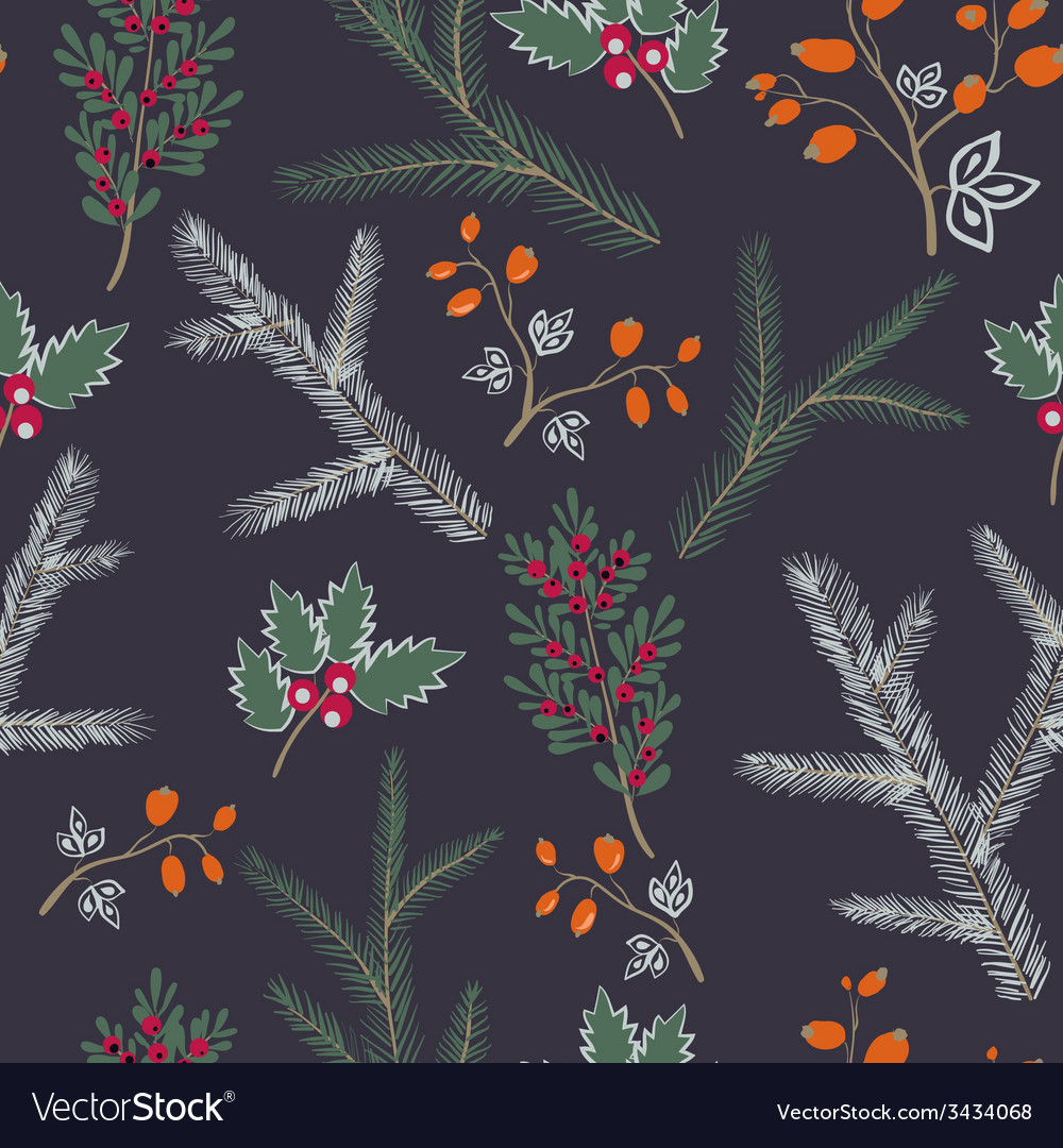 Seamless pattern floral branches winter christmas vector | Price: 1 Credit (USD $1)
