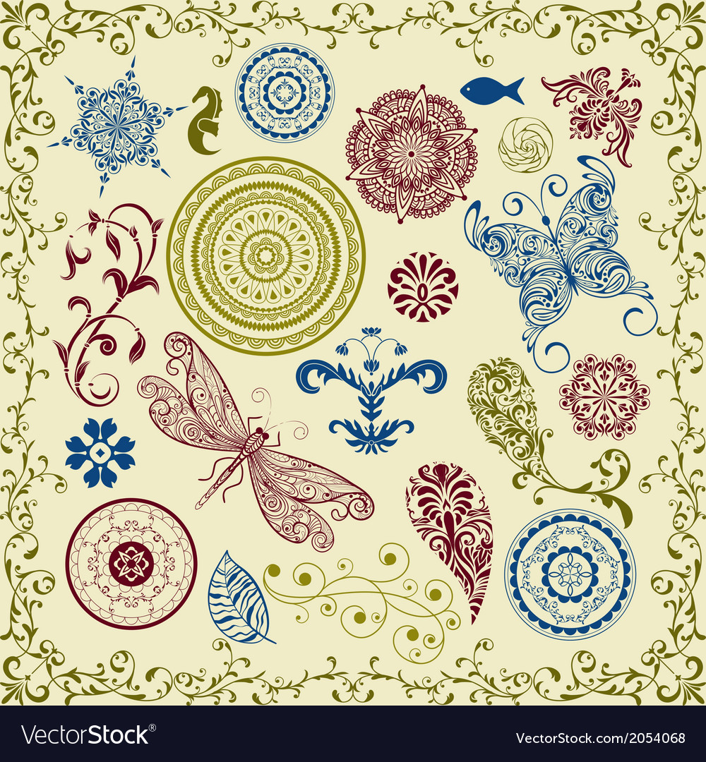 Summer vintage floral bright design elements vector | Price: 1 Credit (USD $1)