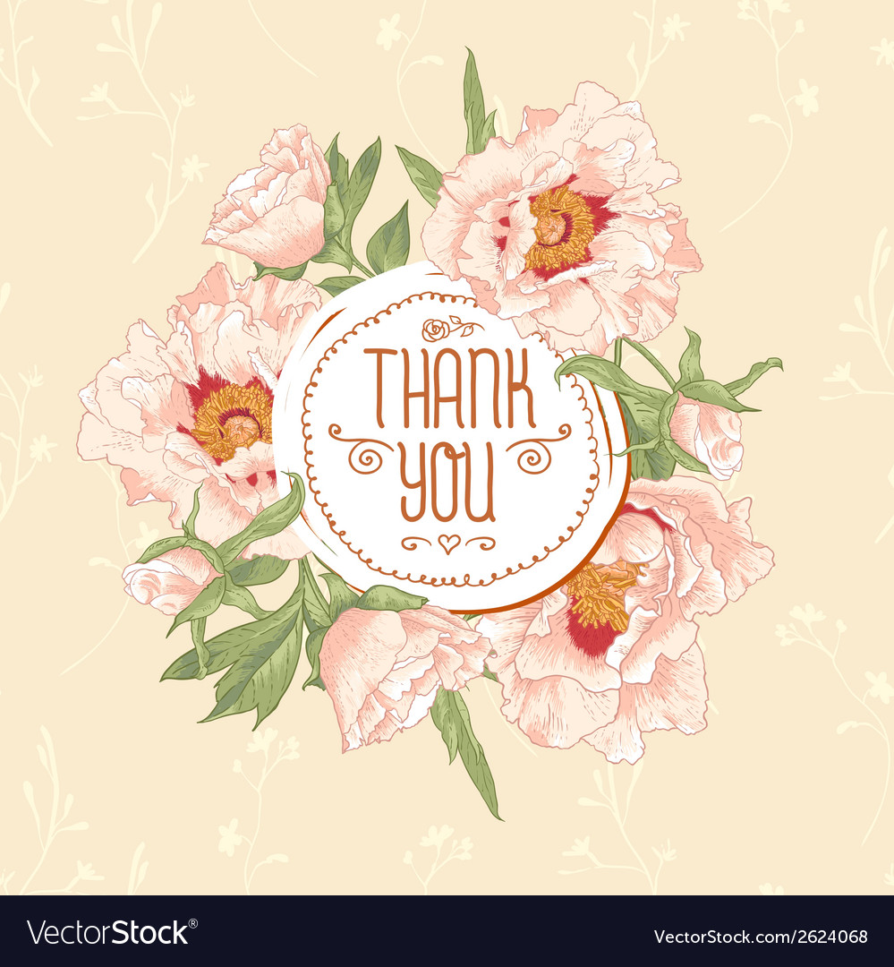 Vintage greeting card with blooming flowers vector | Price: 1 Credit (USD $1)