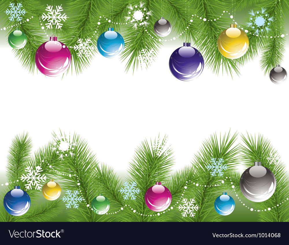 Xmas tree branches with decoration vector | Price: 1 Credit (USD $1)