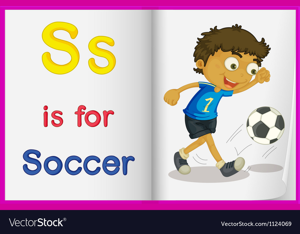 A picture of a kid playing soccer in a book vector | Price: 1 Credit (USD $1)