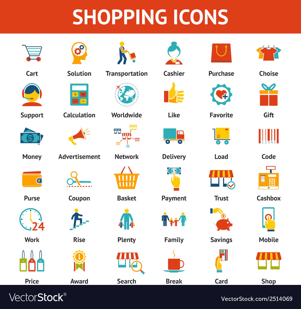 Colored shopping icons vector | Price: 1 Credit (USD $1)