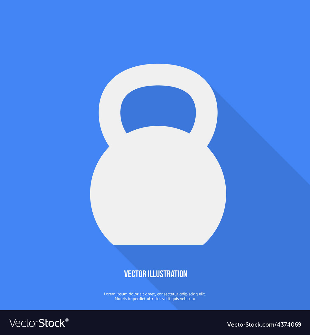 Flat style kettlebell icon with long shadow vector | Price: 1 Credit (USD $1)
