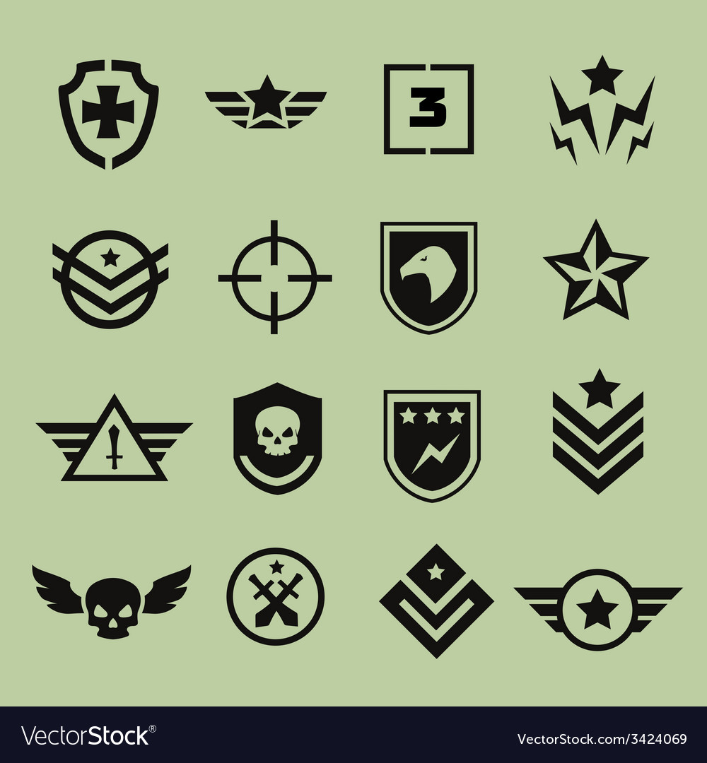 Military symbol icons vector | Price: 1 Credit (USD $1)