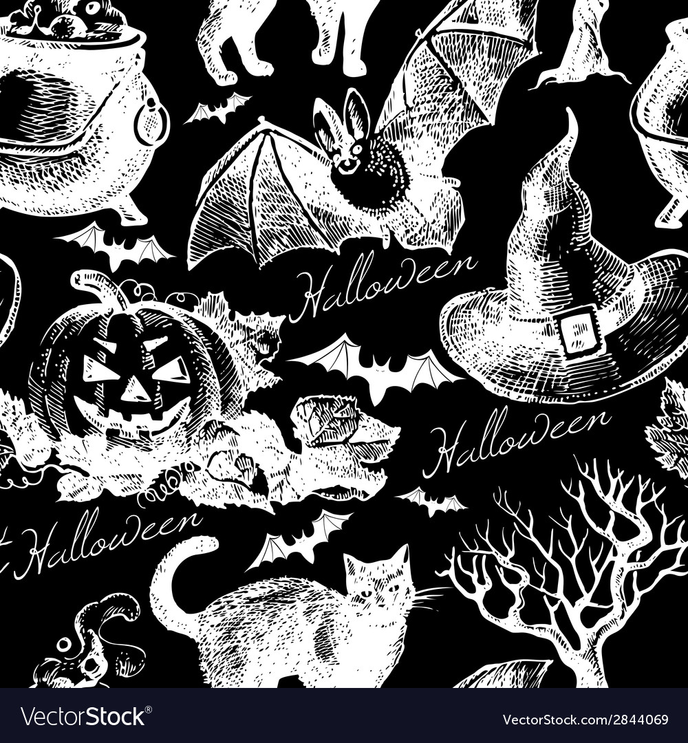 Sketch halloween seamless pattern vector | Price: 1 Credit (USD $1)