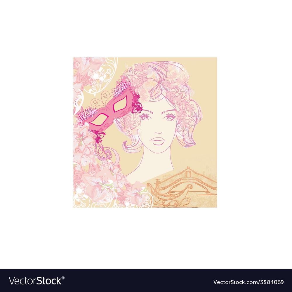 Venetian carnival - beautiful woman mask and vector | Price: 1 Credit (USD $1)
