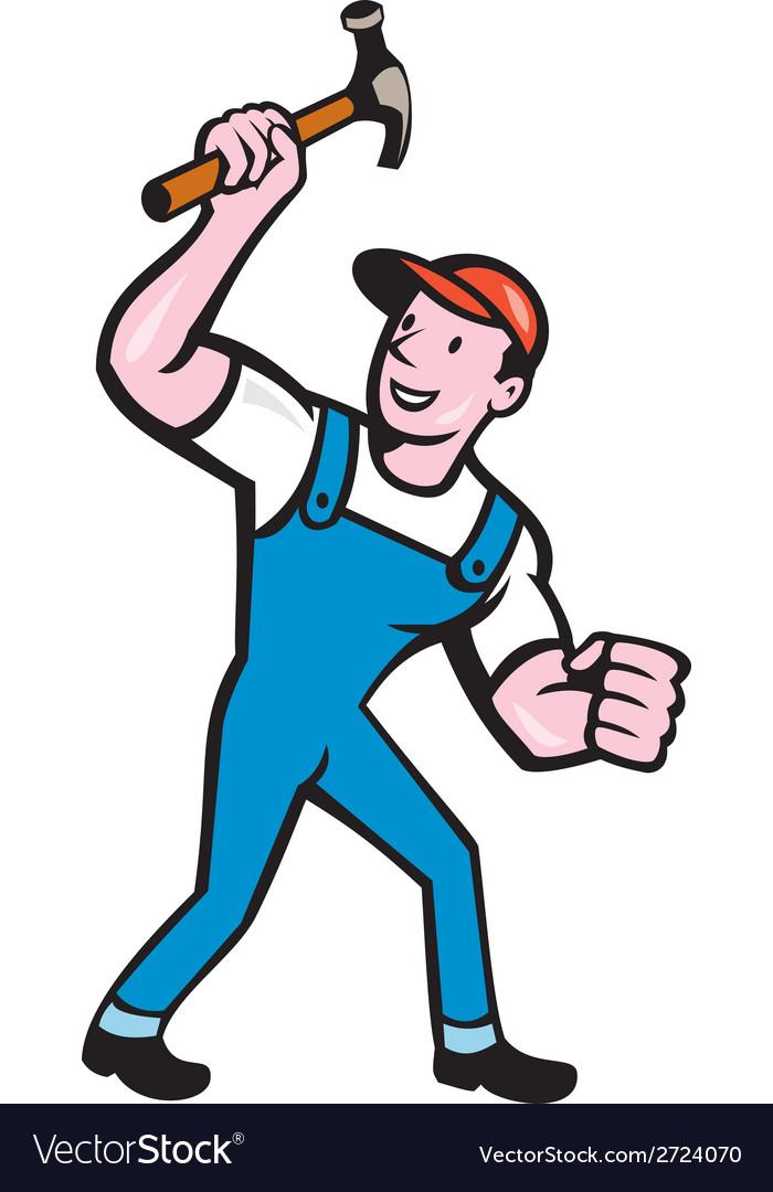 Builder carpenter holding hammer cartoon vector | Price: 1 Credit (USD $1)