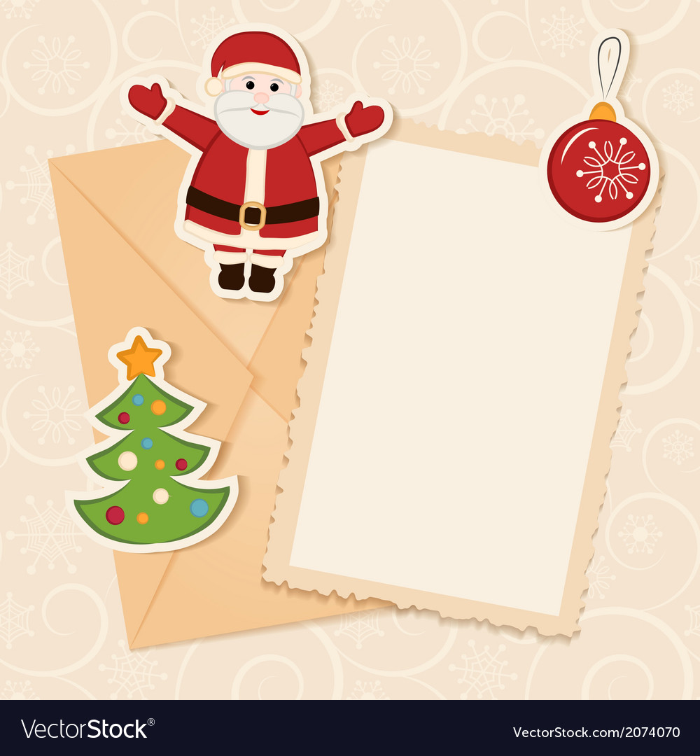 Congratulation gold retro background with santa vector | Price: 1 Credit (USD $1)