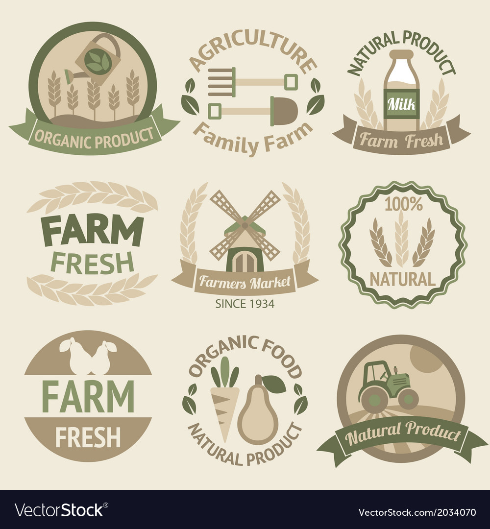 Farming harvesting and agriculture labels vector | Price: 1 Credit (USD $1)