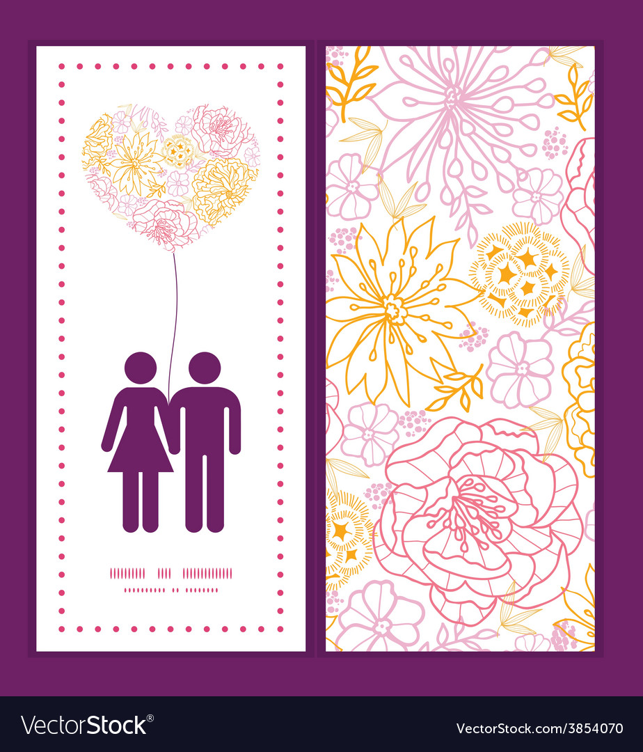 Flowers outlined couple in love silhouettes vector | Price: 1 Credit (USD $1)