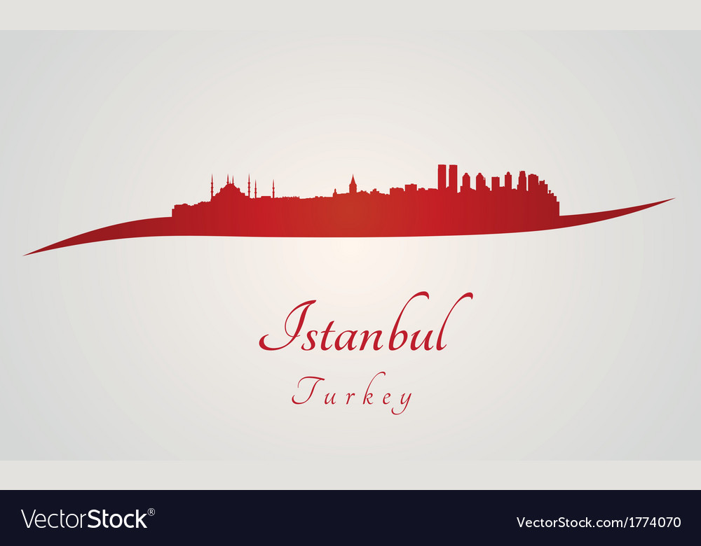 Istanbul skyline in red vector | Price: 1 Credit (USD $1)