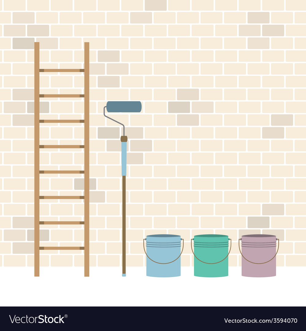 Ladder paint roller and paint buckets home vector | Price: 1 Credit (USD $1)