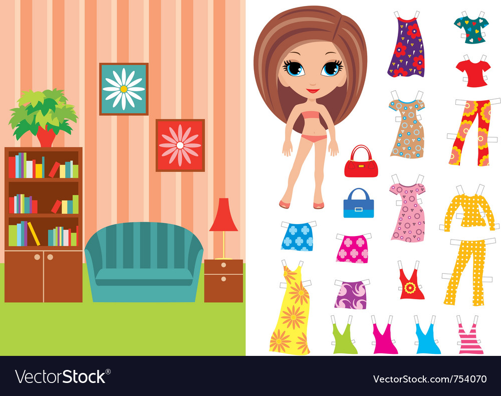Paper doll with a set of clothes and a room vector | Price: 1 Credit (USD $1)