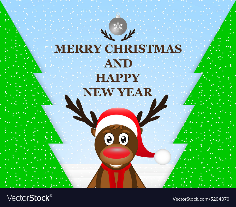 Reindeer in the christmas forest vector | Price: 1 Credit (USD $1)