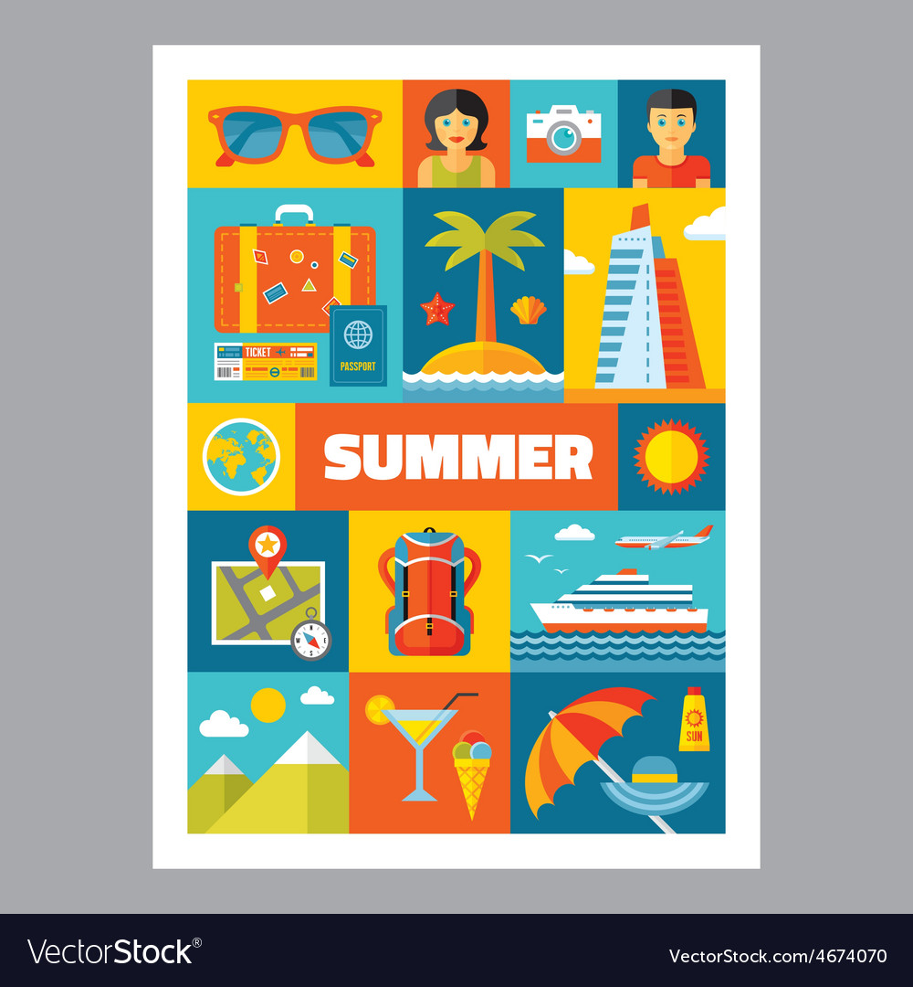 Summer holiday - mosaic poster with icons vector | Price: 1 Credit (USD $1)
