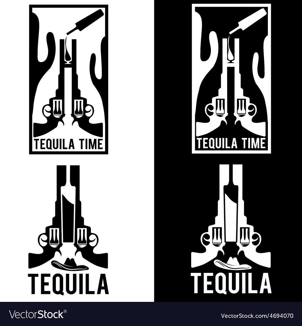 Tequila with guns and cactus vector | Price: 1 Credit (USD $1)