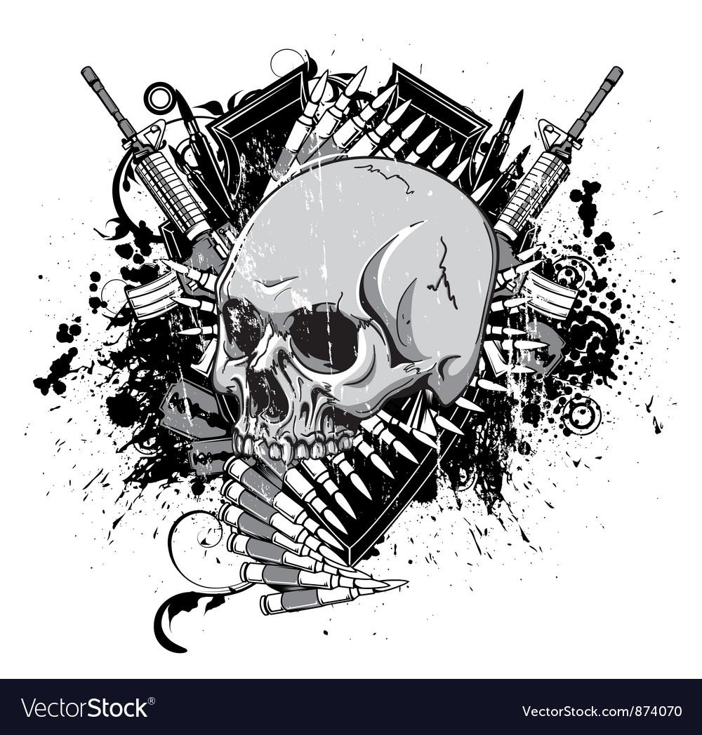 Vintage emblem with skull vector   Price: 1 Credit (USD $1)