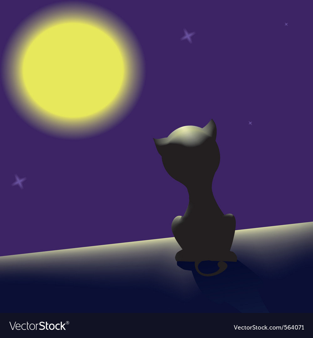Black cat on the roof looking at moon vector | Price: 1 Credit (USD $1)
