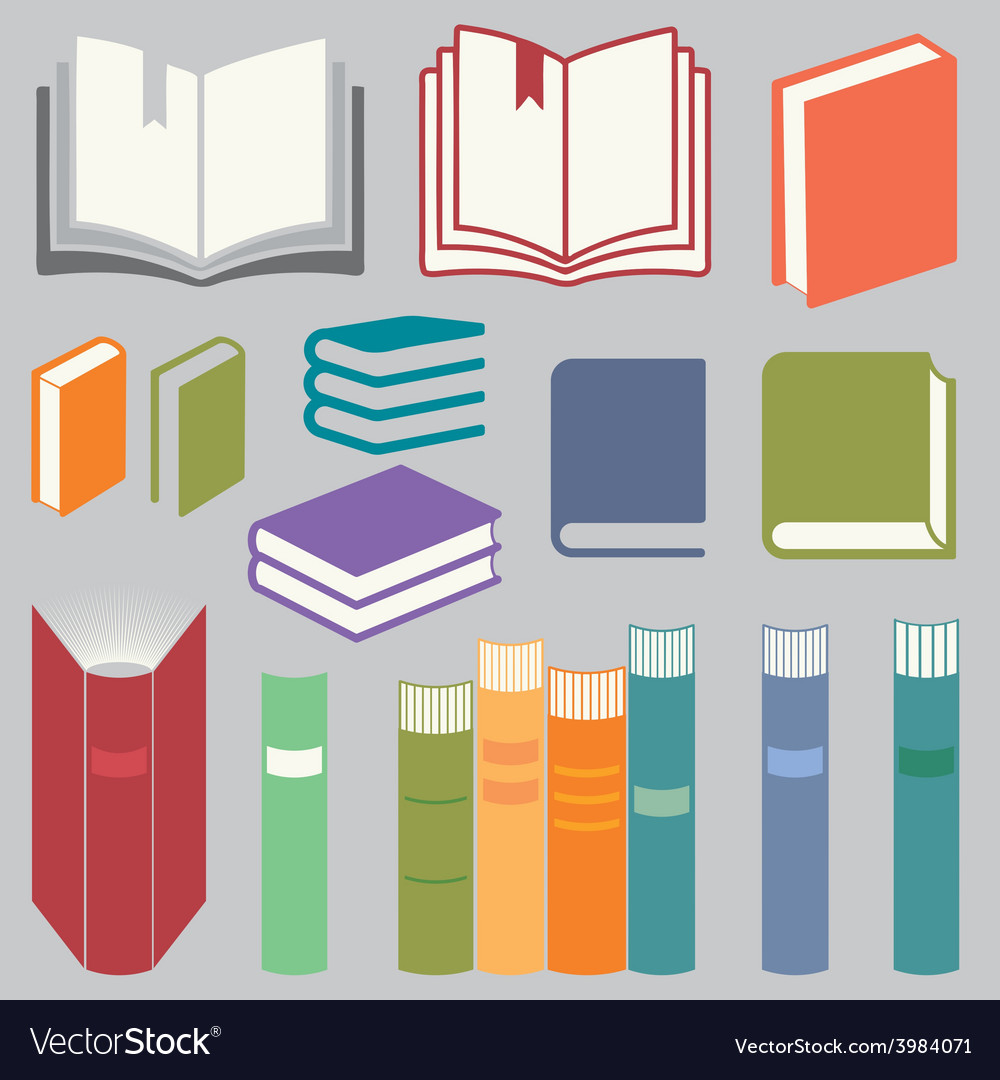Book icons set vector | Price: 1 Credit (USD $1)